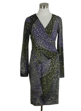 Missoni Purple Green Print Wool Dress 1