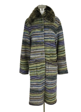 Missoni Purple Olive Grey Wool Faux Fur Long Coat 1