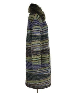 Missoni Purple Olive Grey Wool Faux Fur Long Coat 2
