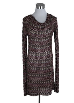 Missoni Red Burgundy Gold Viscose Dress 1