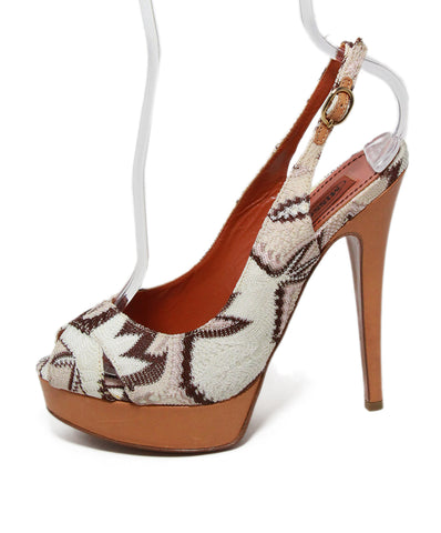 Missoni white brown viscose knit heels 1