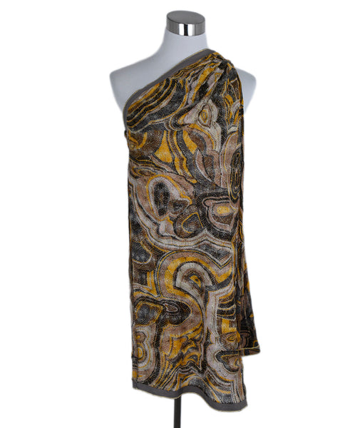 Missoni Yellow Brown Lurex Asymmetrical Evening Dress 1
