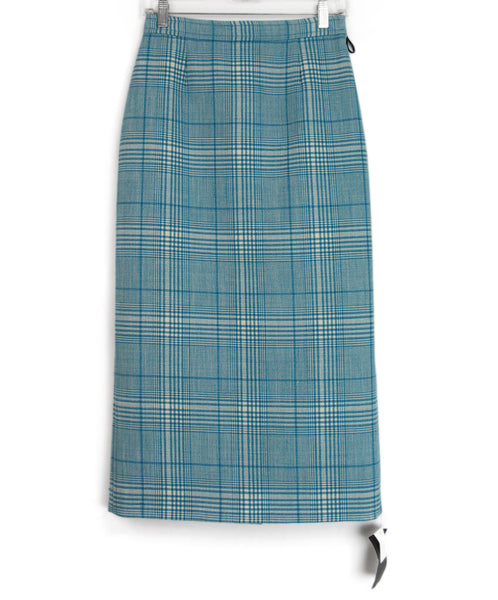 Miu Miu Aqua Plaid Skirt 1