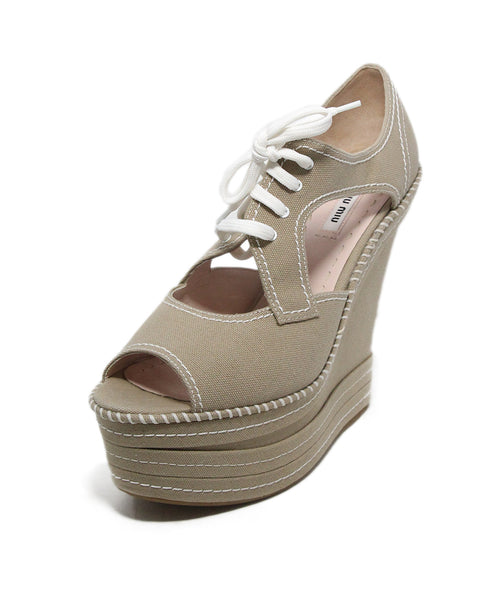 Miu Miu Beige Canvas white stitching wedges 1