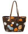 Miu Miu Brown Orange Print Canvas Tote 1