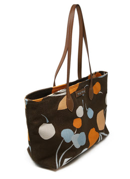 Miu Miu Brown Orange Print Canvas Tote 2