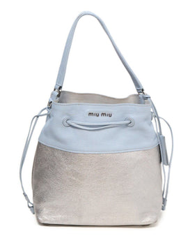 Miu Miu Blue Silver Leather Handbag