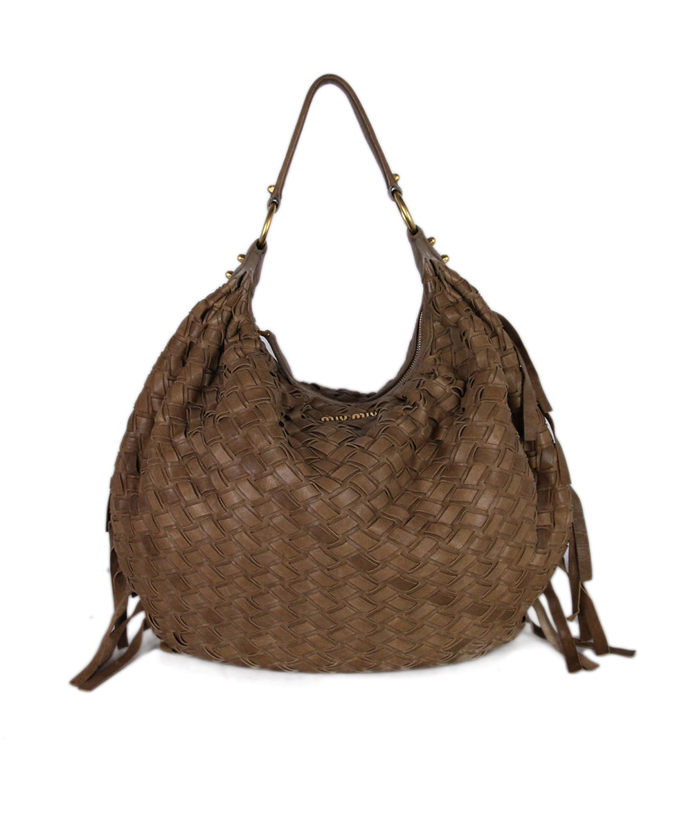 Miu Miu Tan Woven Leather Bag 1