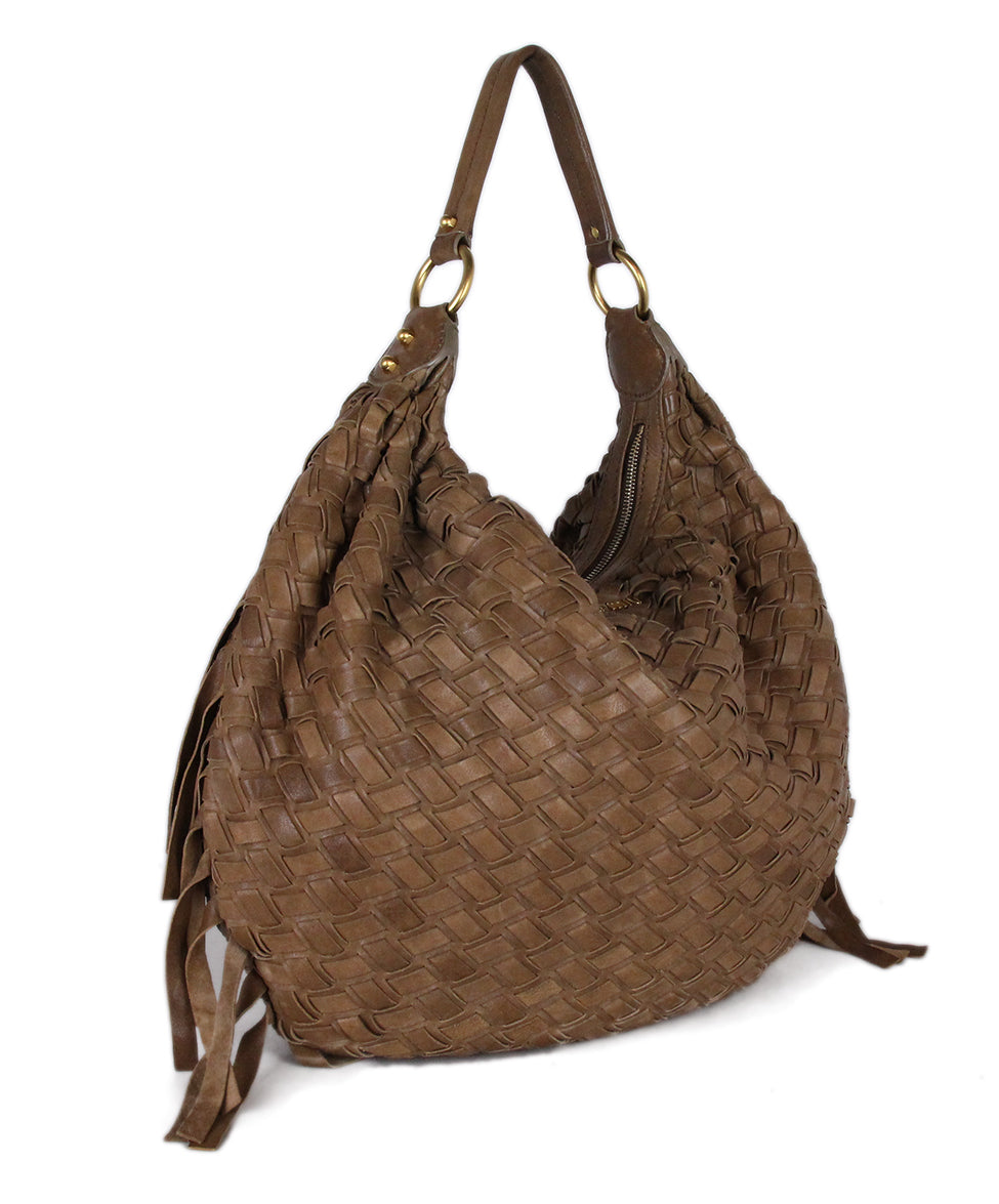 Miu Miu Tan Woven Leather Bag 2
