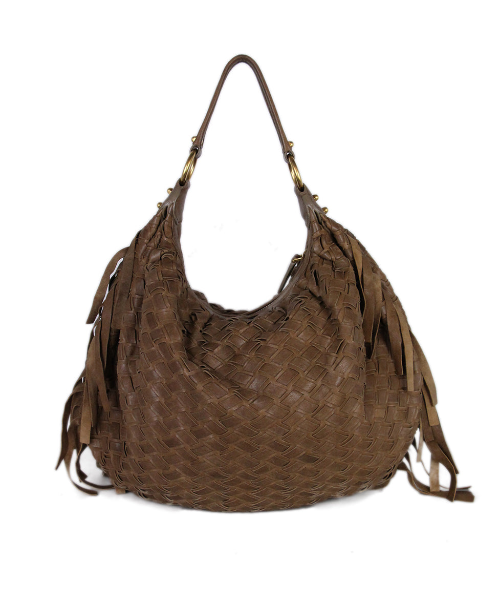 Miu Miu Tan Woven Leather Bag 3