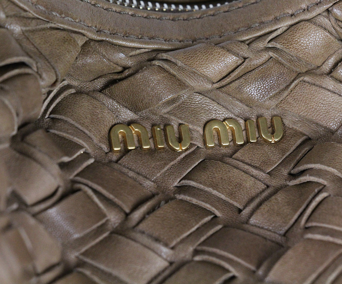 Miu Miu Tan Woven Leather Bag 7