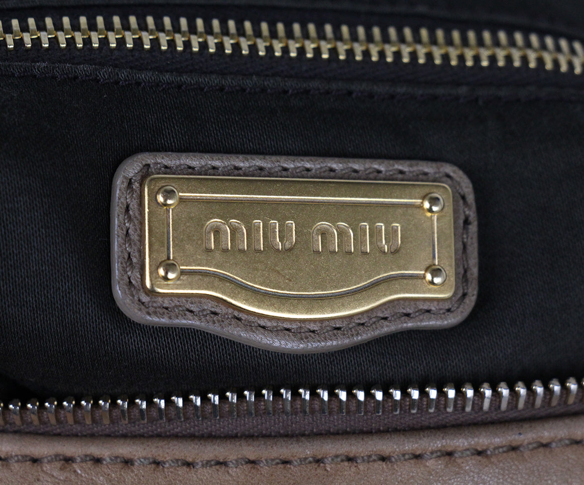 Miu Miu Tan Woven Leather Bag 6