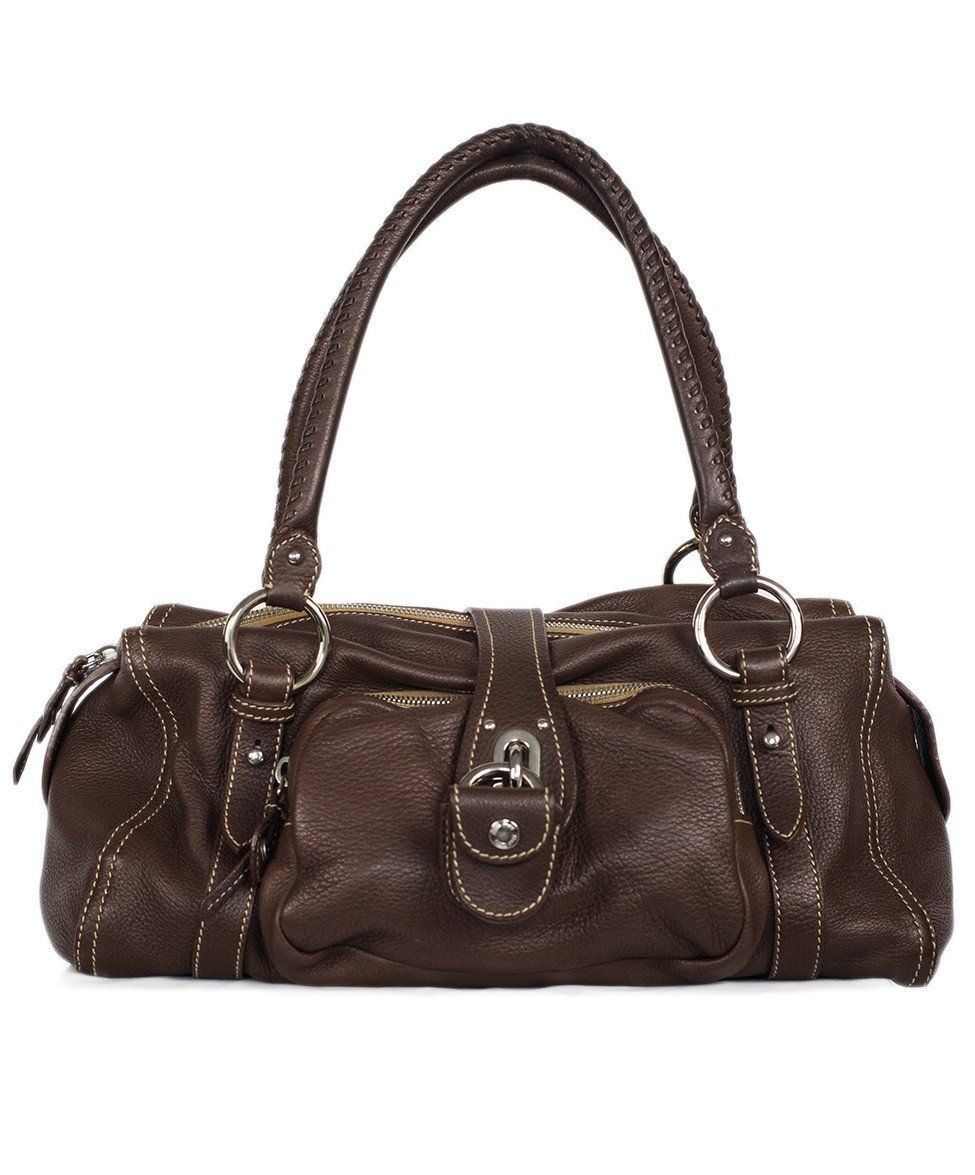 Miu Miu Brown Leather Tan Stitching Bag - Michael's Consignment NYC  - 1