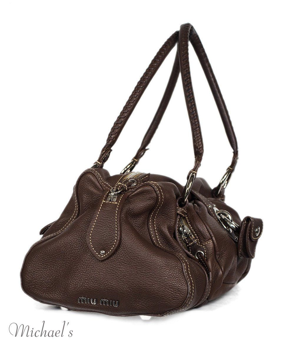 Miu Miu Brown Leather Tan Stitching Bag - Michael's Consignment NYC  - 2