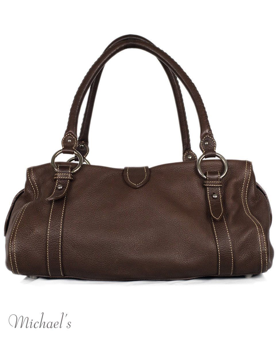 Miu Miu Brown Leather Tan Stitching Bag - Michael's Consignment NYC  - 3