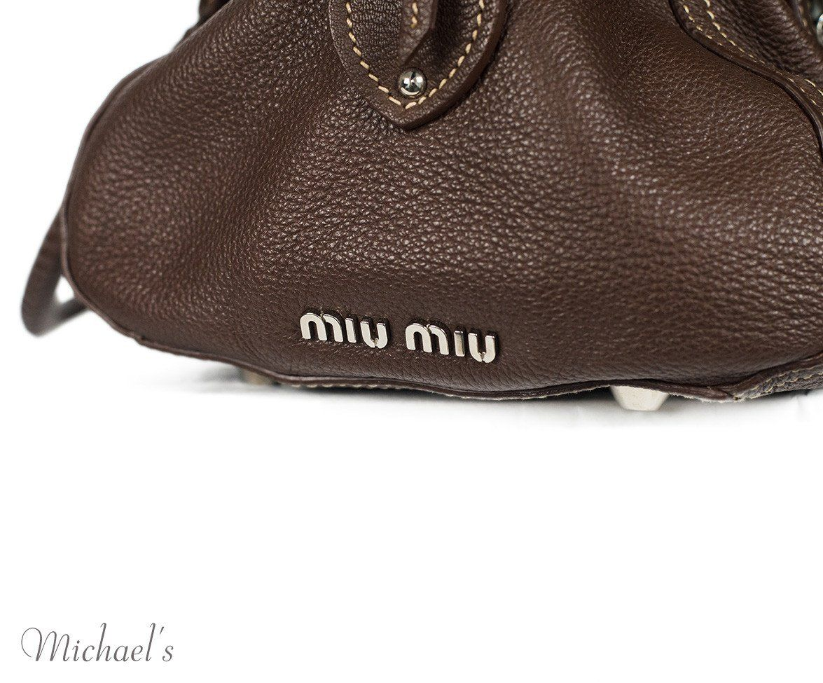 Miu Miu Brown Leather Tan Stitching Bag - Michael's Consignment NYC  - 11