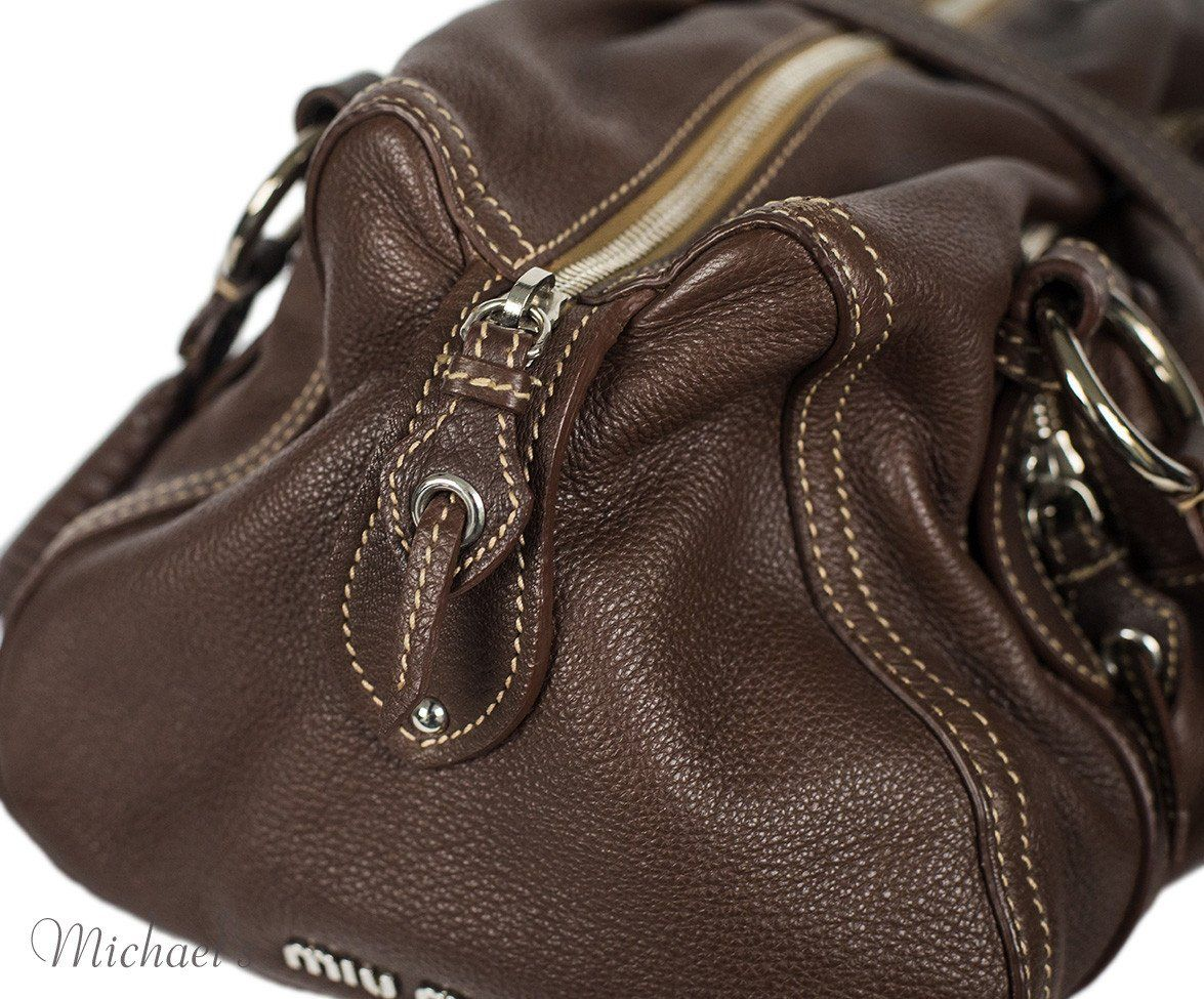 Miu Miu Brown Leather Tan Stitching Bag - Michael's Consignment NYC  - 7