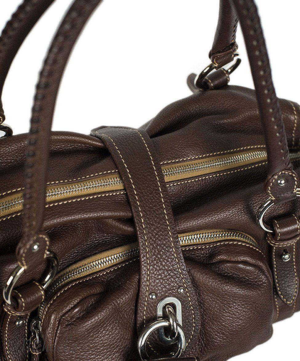 Miu Miu Brown Leather Tan Stitching Bag - Michael's Consignment NYC  - 8