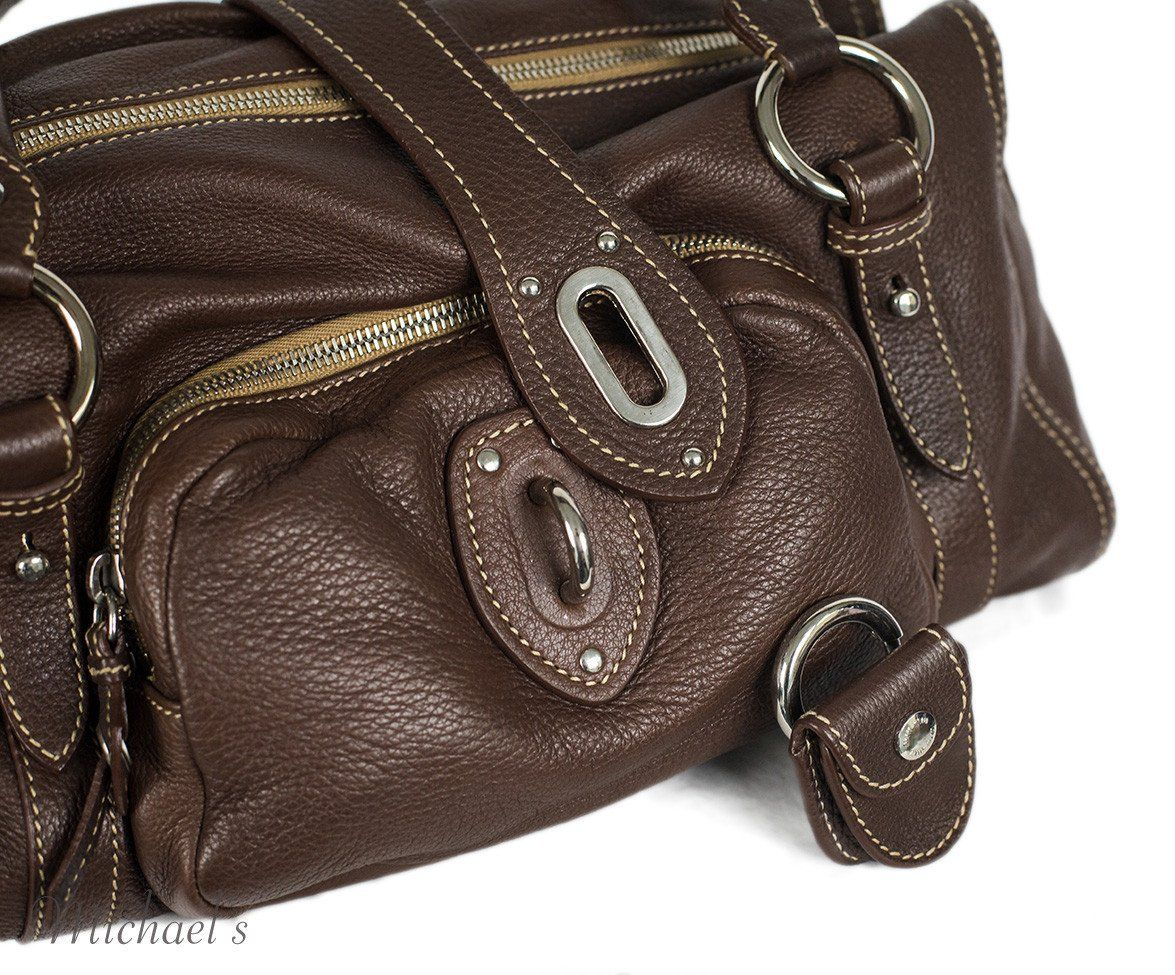Miu Miu Brown Leather Tan Stitching Bag - Michael's Consignment NYC  - 9