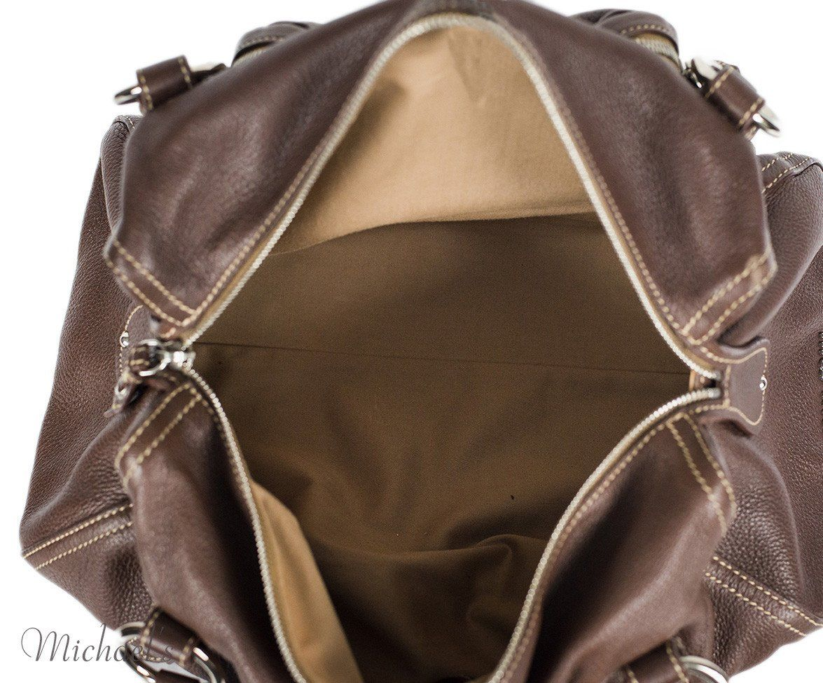 Miu Miu Brown Leather Tan Stitching Bag - Michael's Consignment NYC  - 6