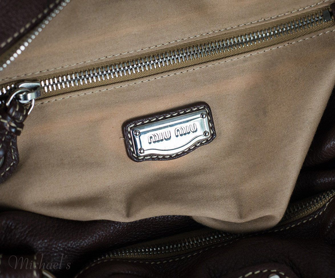 Miu Miu Brown Leather Tan Stitching Bag - Michael's Consignment NYC  - 12