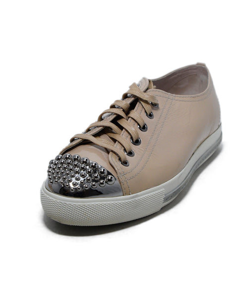 Miu Miu Neutral Beige Patent Leather Silver Cap Toe Sneakers 1