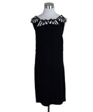 Miu Miu Black Polyester Leather Trim Dress 1