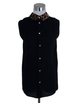 Miu Miu Black Viscose Leopard Trim Top 1