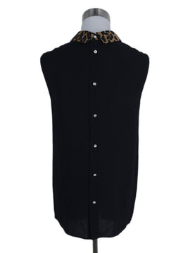 Miu Miu Black Viscose Leopard Trim Top 2
