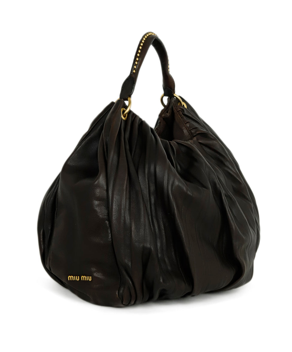 Miu Miu Brown Distressed Leather Oversized Hobo Handbag 2