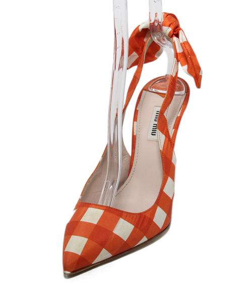 Miu Miu Orange White Gingham Silk Heels, Sz. 39
