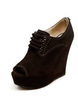 Miu Miu Brown Suede Wedge Open Toe Heels 1