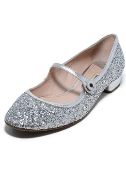 Miu Miu Metallic Silver Glitter Shoes 1