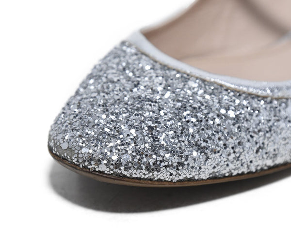 Miu Miu Metallic Silver Glitter Shoes 8