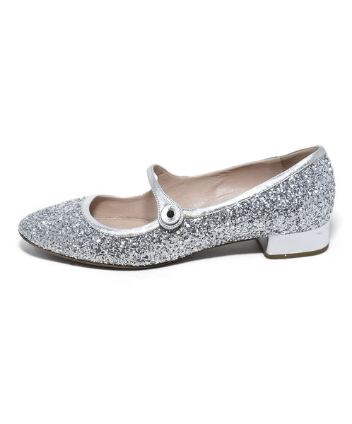 Miu Miu Metallic Silver Glitter Shoes 2