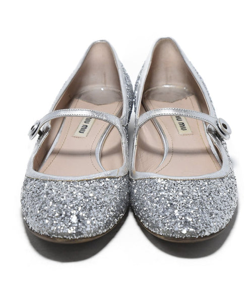 Miu Miu Metallic Silver Glitter Shoes 4