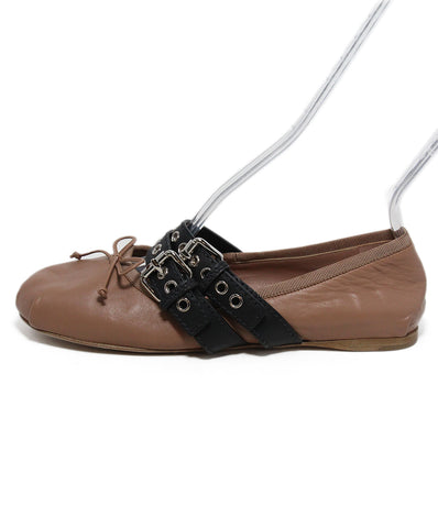 Miu Miu nude leather black trim flats 1
