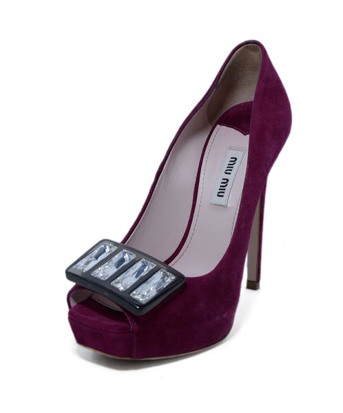 Pink Magenta Suede Crystal Accent Shoes