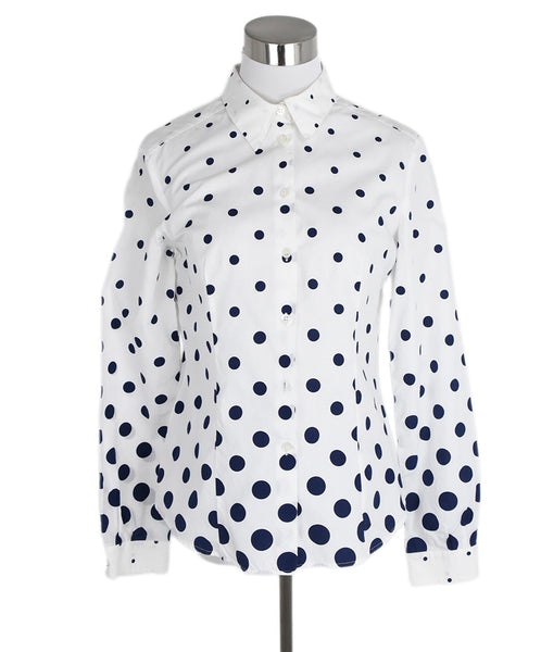 Miu Miu White Navy Polka Dots Cotton Top 1