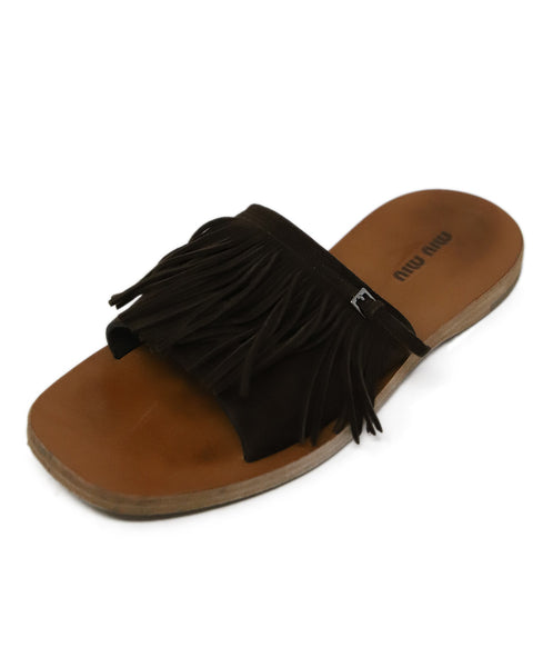Miu Miu Brown Suede Fringe Sandals 1
