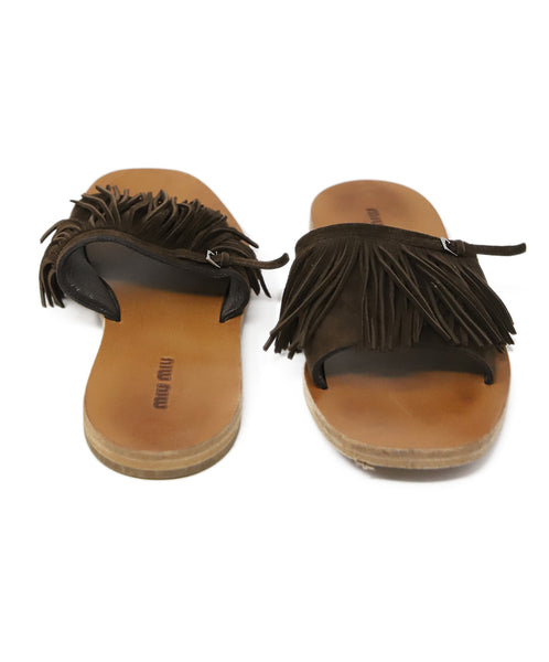 Miu Miu Brown Suede Fringe Sandals 3