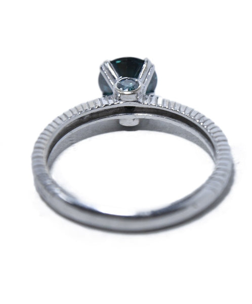 Fine Jewelry 1 Carat Green Moissanite White 14 K Gold Ring 2