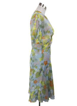 Molinari Blue Floral Silk Yellow Orange Green Dress 2
