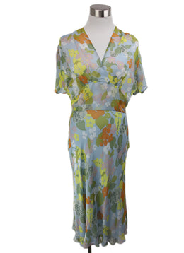 Molinari Blue Floral Silk Yellow Orange Green Dress 1