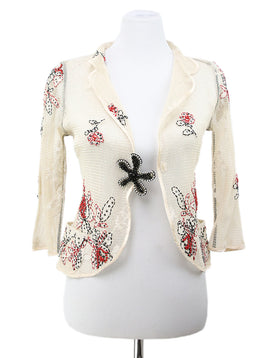 Cardigan Molinari Neutral Silk Floral Embroidery Sweater 1