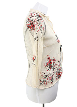 Cardigan Molinari Neutral Silk Floral Embroidery Sweater 2