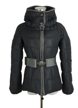 Moncler Grey Nylon Down Lining Belted Short Coat 1