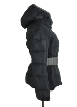 Moncler Grey Nylon Down Lining Belted Short Coat 2