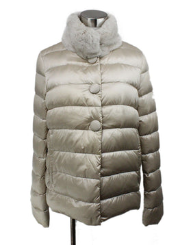 Coat Short Moncler Neutral Beige Down Lining Fur Collar Outerwear 1