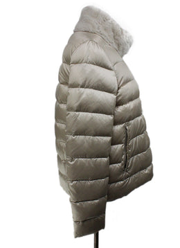 Coat Short Moncler Neutral Beige Down Lining Fur Collar Outerwear 2